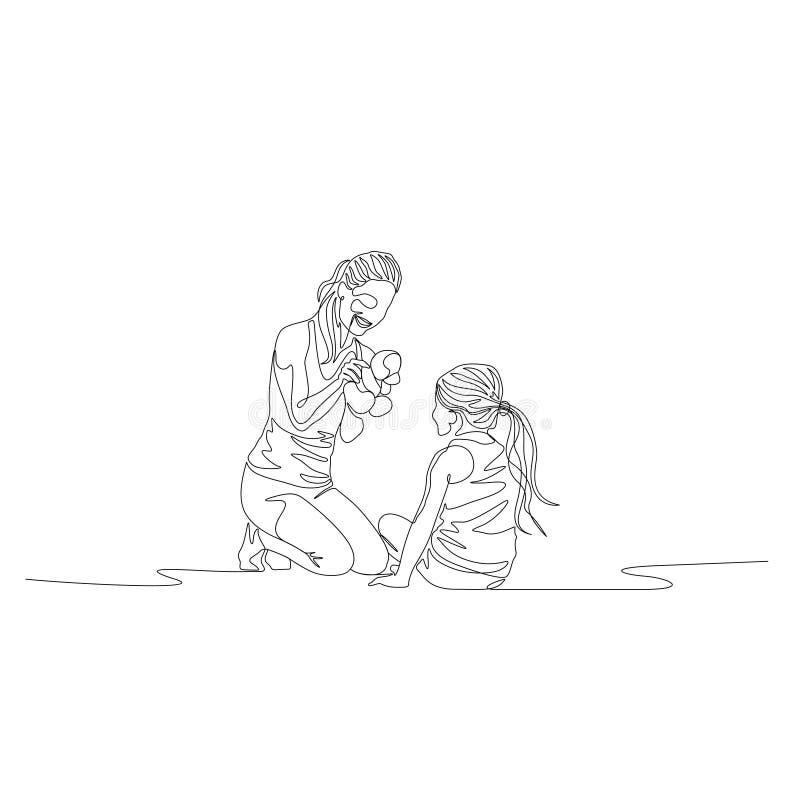 Uma linha contínua mãe e filha que siiting e que jogam com brinquedos ilustração do vetor