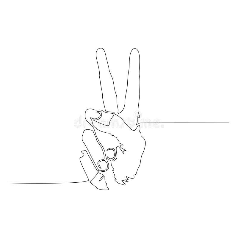 Uma linha contínua paz ou Victory Sign, gesto de mão Vetor ilustração stock
