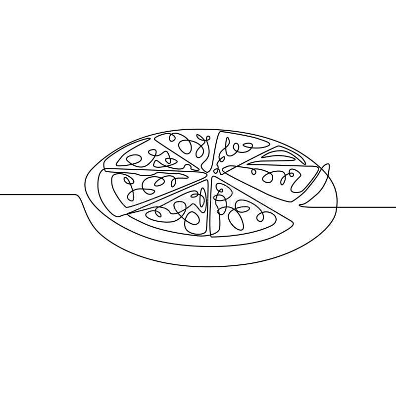 Uma linha contínua pizza Fast food Ilustra??o do vetor ilustração do vetor