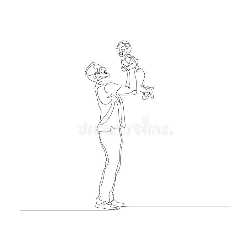 Uma linha contínua posse do pai seu pouco filho nas mãos acima da cabeça ilustração royalty free