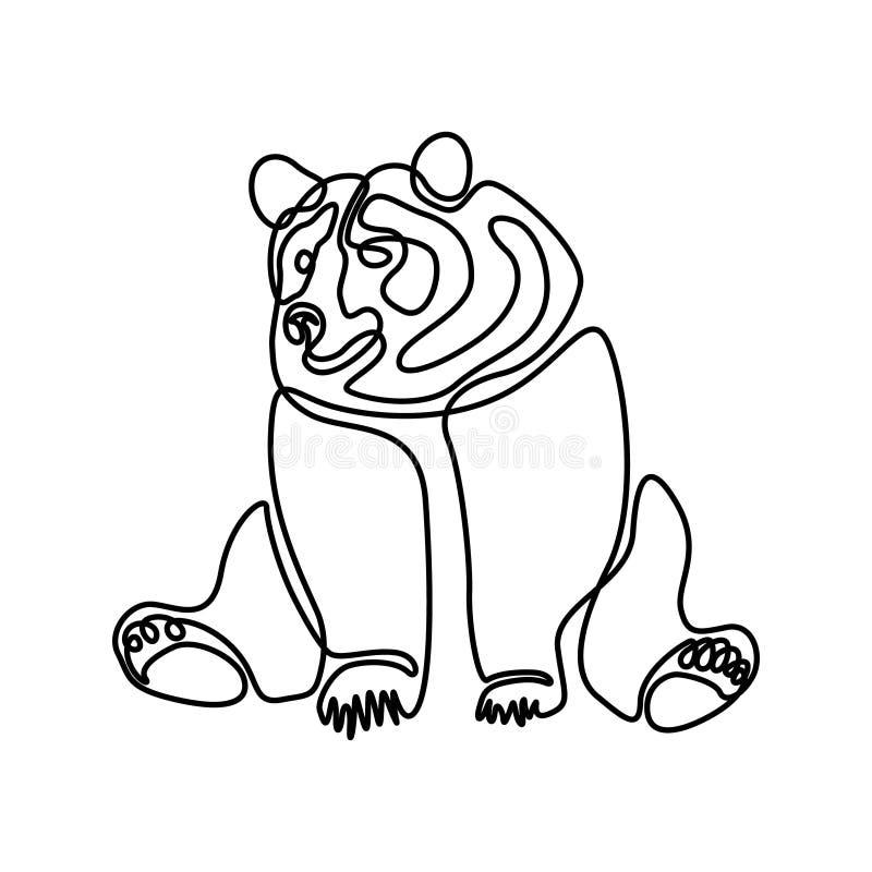 Uma linha contínua urso de assento Ilustra??o do vetor ilustração royalty free