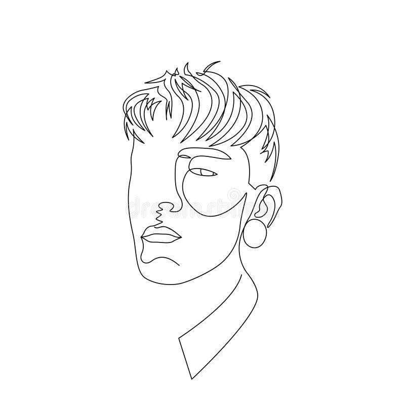 A uma linha contínua witj da cara do homem obstrui dentro as orelhas Arte ilustração royalty free