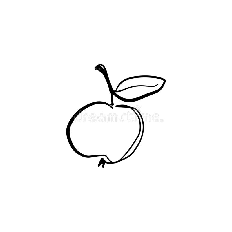 Uma linha desenho à moda da maçã Linha contínua fruto da silhueta, arte do ilustrador do EPS do vetor ilustração stock