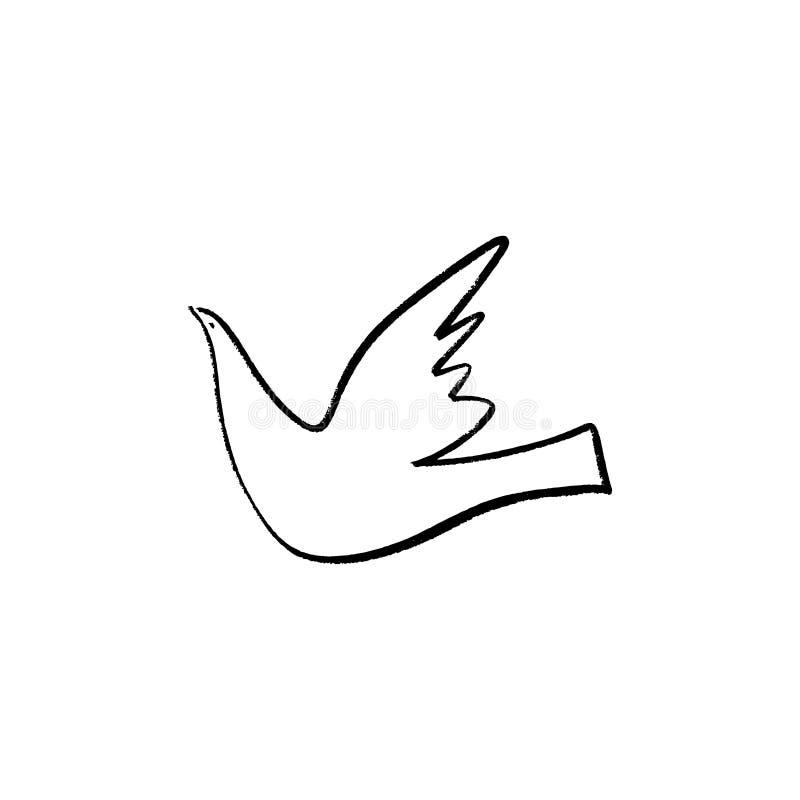 Uma linha ilustração da pomba, estilo tirado mão da tinta Vetor e imagem do jpg ilustração stock