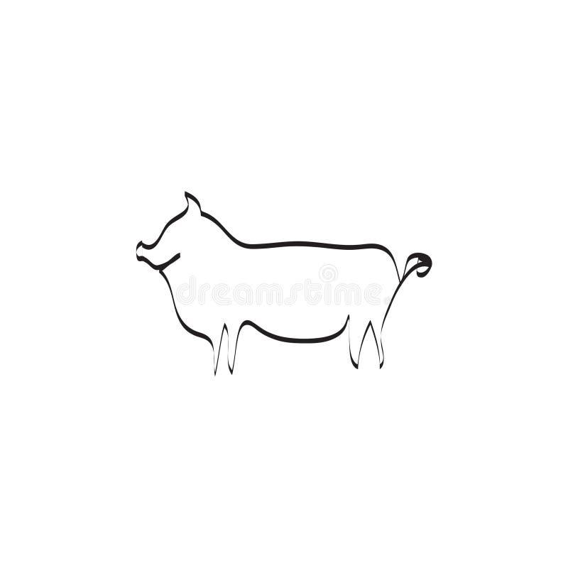 Uma linha ilustração do vetor do porco ilustração do vetor