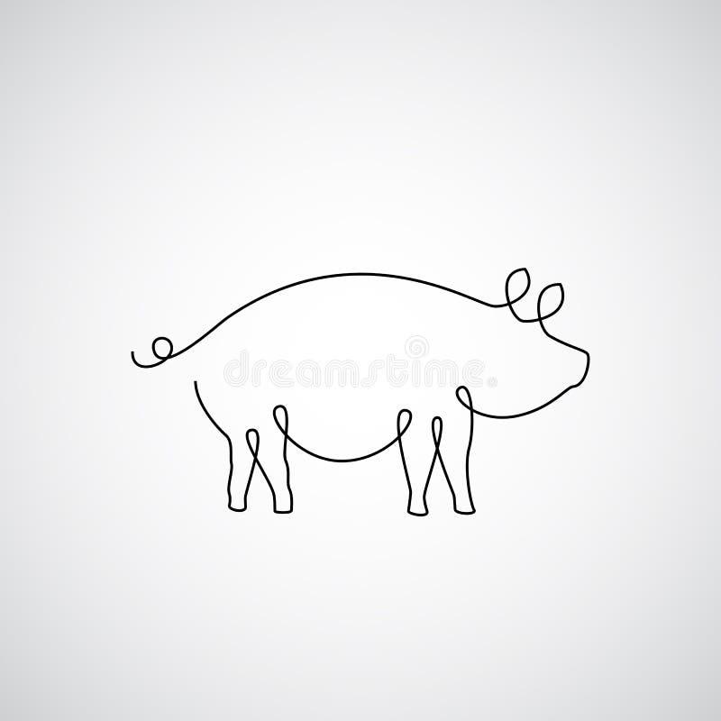 Uma linha porco ilustração stock