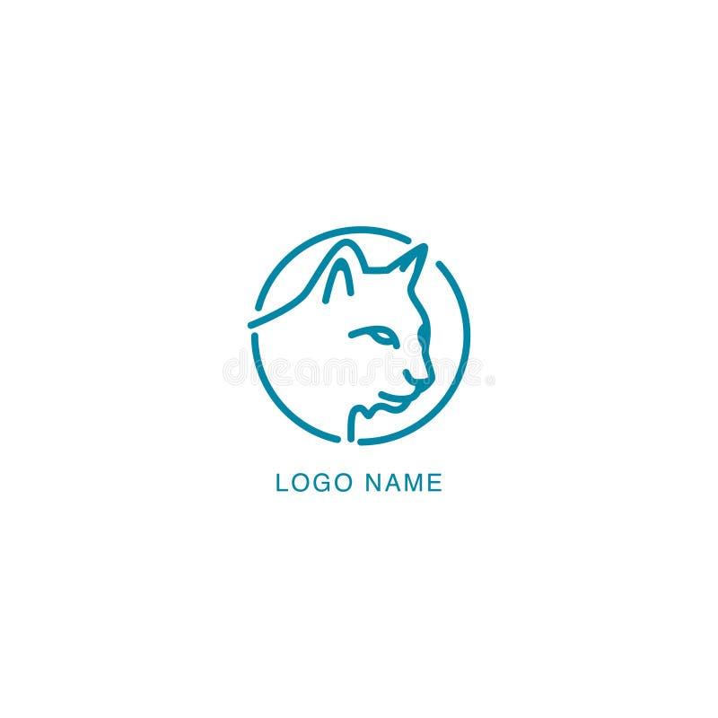 Uma linha projeto do logotipo do conceito do gato Projeto do logotipo do animal de estimação com projeto de conceito do monoline ilustração royalty free