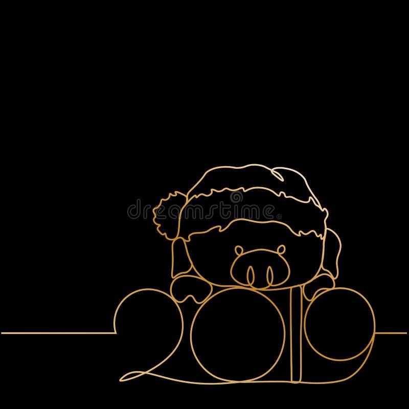 Uma linha silhueta do ouro do projeto do porco Ilustração do vetor do estilo de Minimalistic ilustração royalty free