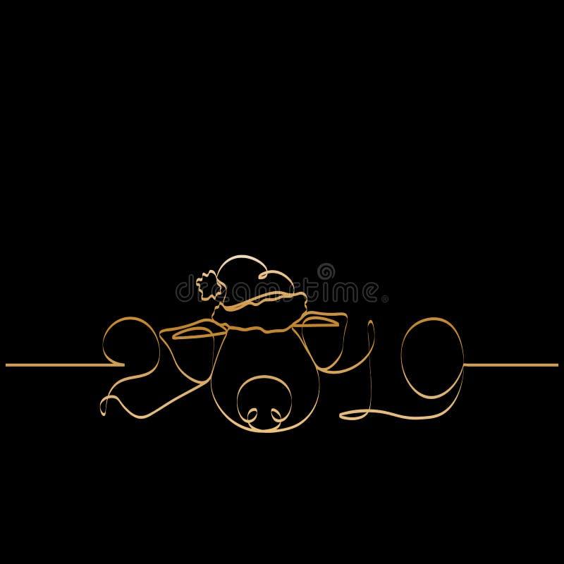 Uma linha silhueta do ouro do projeto do porco Ilustração do vetor do estilo de Minimalistic ilustração stock