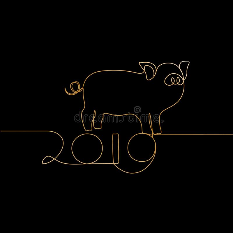 Uma linha silhueta do ouro do projeto do porco Ilustração do vetor do estilo de Minimalistic ilustração do vetor