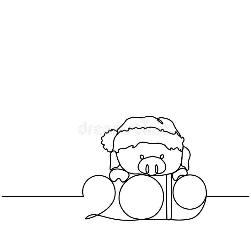 Uma linha silhueta do projeto do porco Ilustração do vetor do estilo de Minimalistic ilustração royalty free