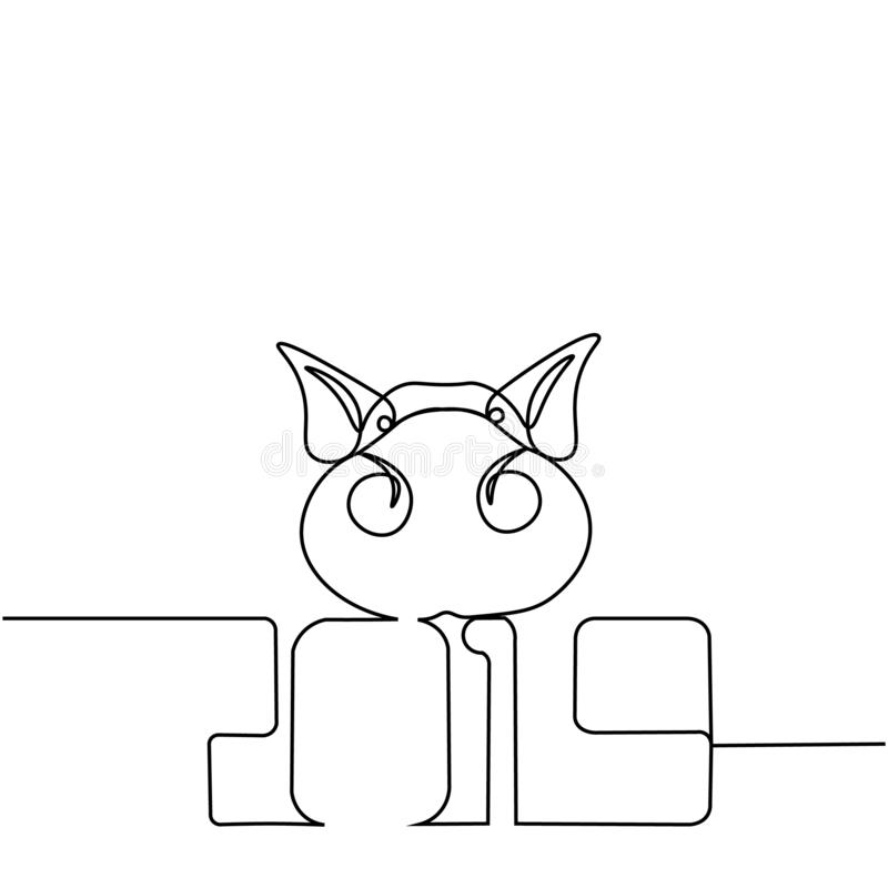 Uma linha silhueta do projeto do porco Ilustração do vetor do estilo de Minimalistic ilustração do vetor