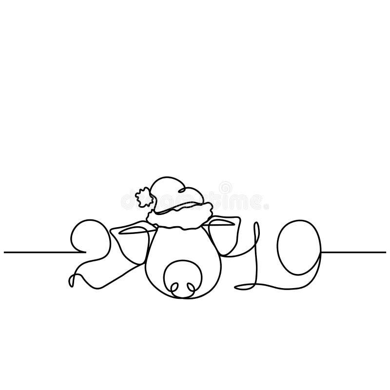 Uma linha silhueta do projeto do porco Ilustração do vetor do estilo de Minimalistic ilustração stock