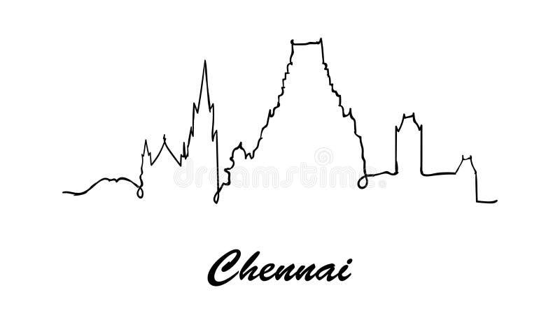 Uma linha skyline da cidade de Chennai do estilo Vetor do estilo de Minimaistic ilustração royalty free