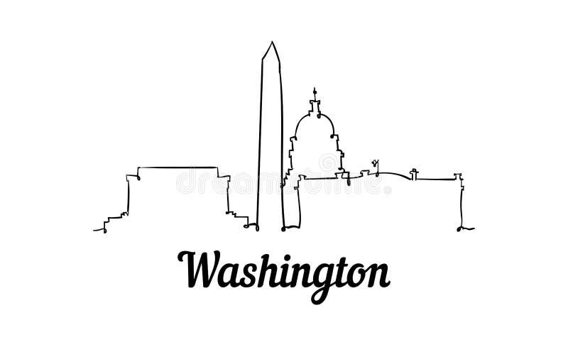 Uma linha skyline de Washington do estilo Estilo minimalistic moderno simples ilustração royalty free