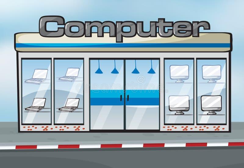 Uma loja de computador ilustração stock
