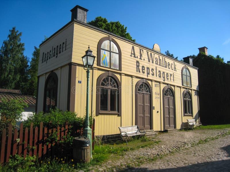 Uma loja velha do Ropemaking. Linkoping. Suécia imagens de stock royalty free