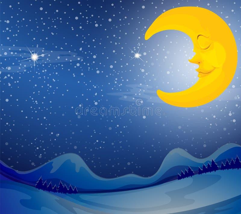 Uma lua do sono ilustração stock