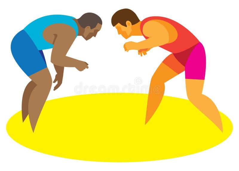 Uma luta romana greco-romana de dois lutadores começa sua batalha ilustração royalty free