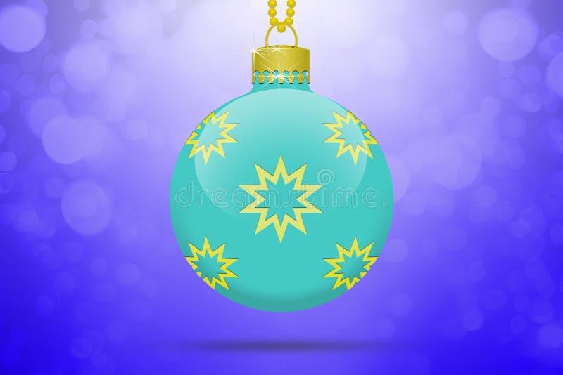 Uma luz - bola de suspensão azul da árvore de Natal com os ornamento dourados das estrelas em um fundo azul com alargamento da le ilustração do vetor