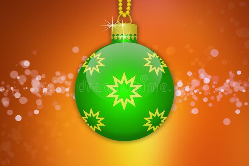 Uma luz - bola de suspensão verde da árvore de Natal com os ornamento dourados das estrelas em um fundo alaranjado com alargament ilustração do vetor