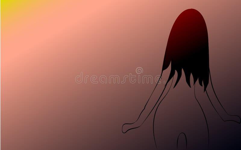 Uma luz pequena fina, frágil, menina delicada com uma figura delgada bonita girou com ela para trás com o cabelo longo pintado co ilustração royalty free
