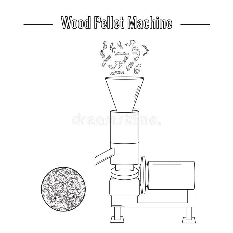 Uma máquina de madeira da produção da pelota ilustração royalty free
