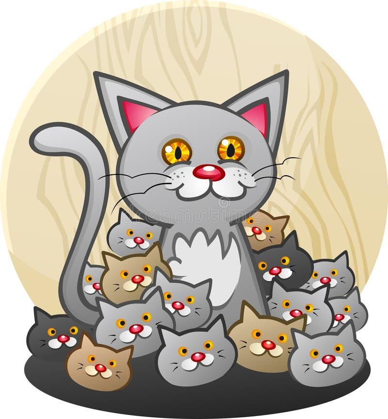 Uma mãe Cat Cartoon Character com uma maca dos gatinhos ilustração stock