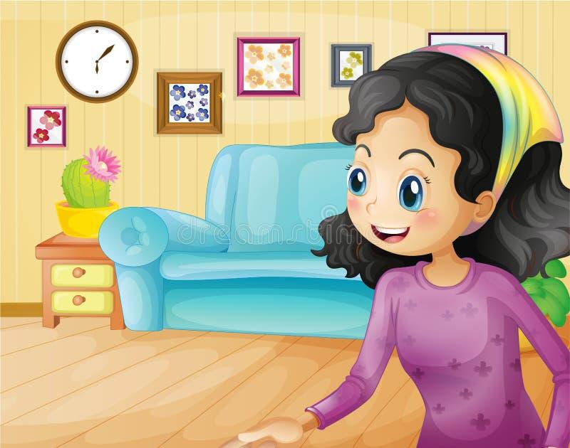Uma mãe feliz na sala de visitas ilustração royalty free
