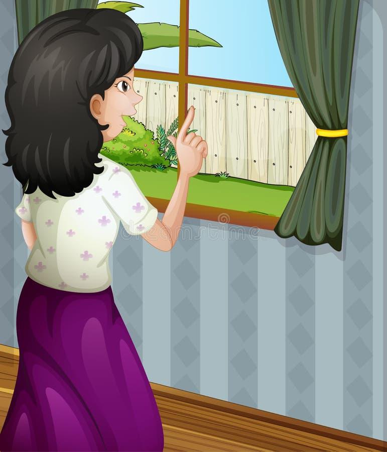 Uma mãe que enfrenta a janela ilustração stock