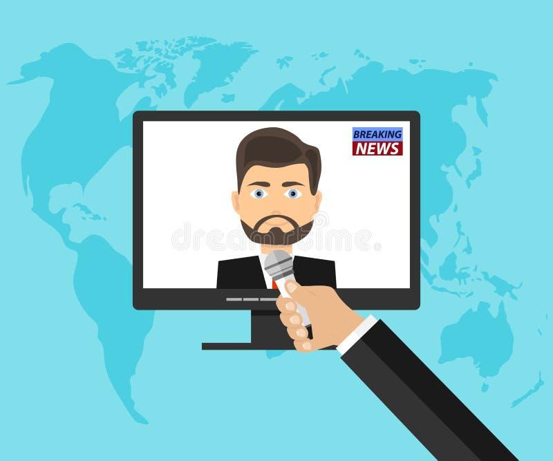 Uma mão com um microfone entrevista uma pessoa do computador Serviço noticioso ilustração stock
