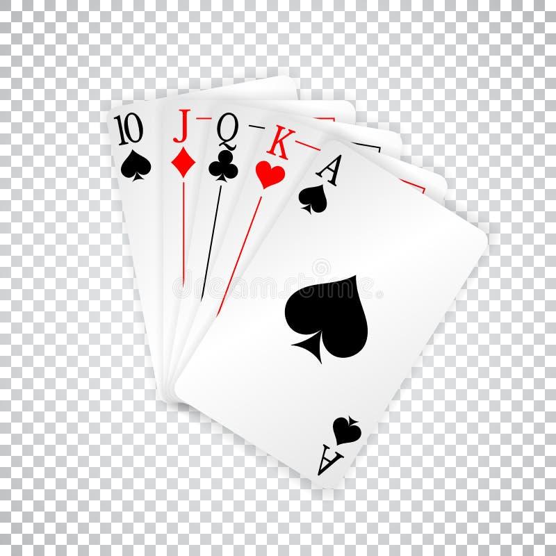 Uma mão de pôquer reta real dos cartões de jogo ilustração stock