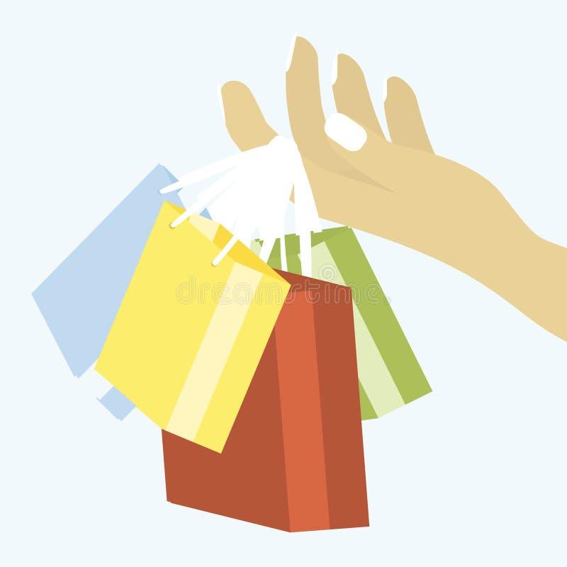 Uma mão do ` s da mulher que guarda sacos de compras ilustração do vetor