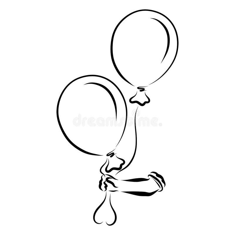 Uma mão dos childs guarda dois balões, um coração feito dos filamentos ilustração royalty free
