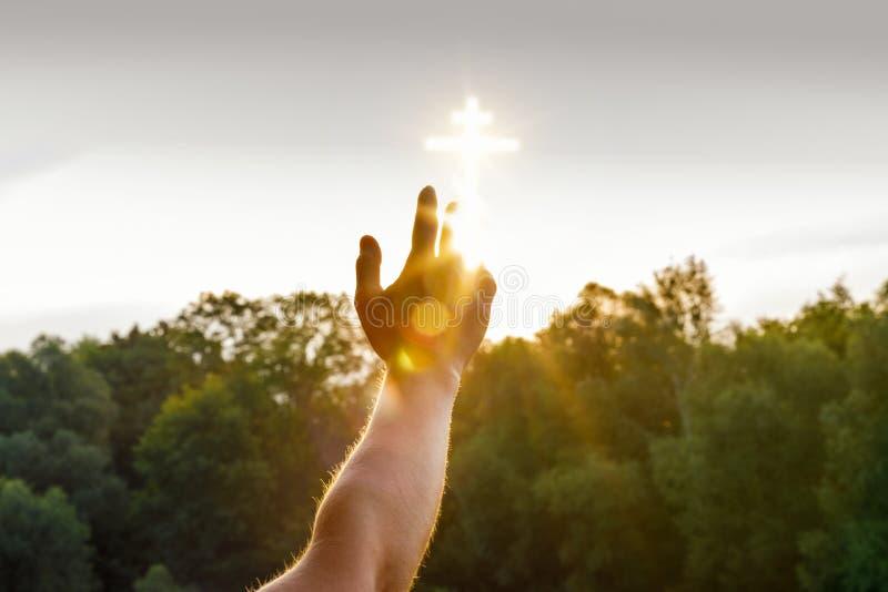 Uma mão está alcançando uma imagem transversal de incandescência que seja situada no céu acima das árvores verdes do verão foto de stock