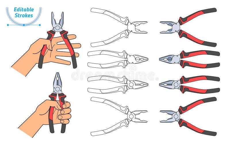 Uma mão humana guarda um par de alicates O conjunto de ferramentas do reparo ilustração do vetor