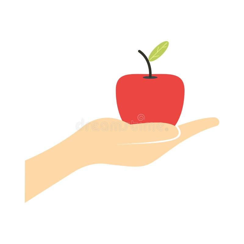 Uma mão que dá a uma maçã vermelha o ícone liso ilustração do vetor