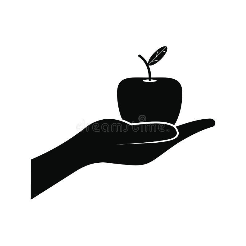 Uma mão que dá o ícone da maçã ilustração royalty free