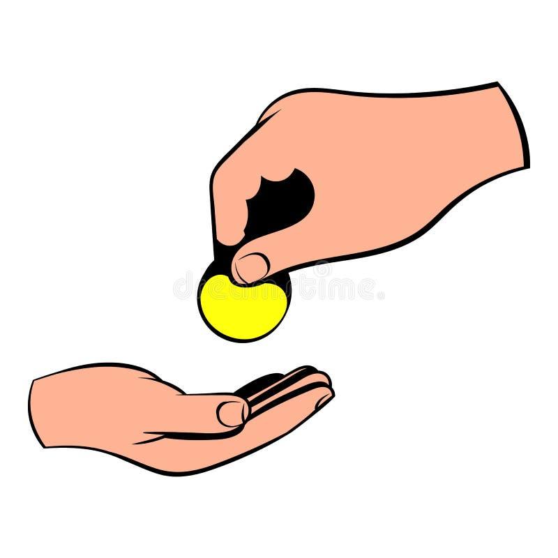Uma mão que dá um ícone da moeda, desenhos animados do ícone ilustração do vetor