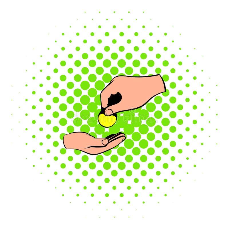 Uma mão que dá um ícone da moeda, estilo da banda desenhada ilustração stock