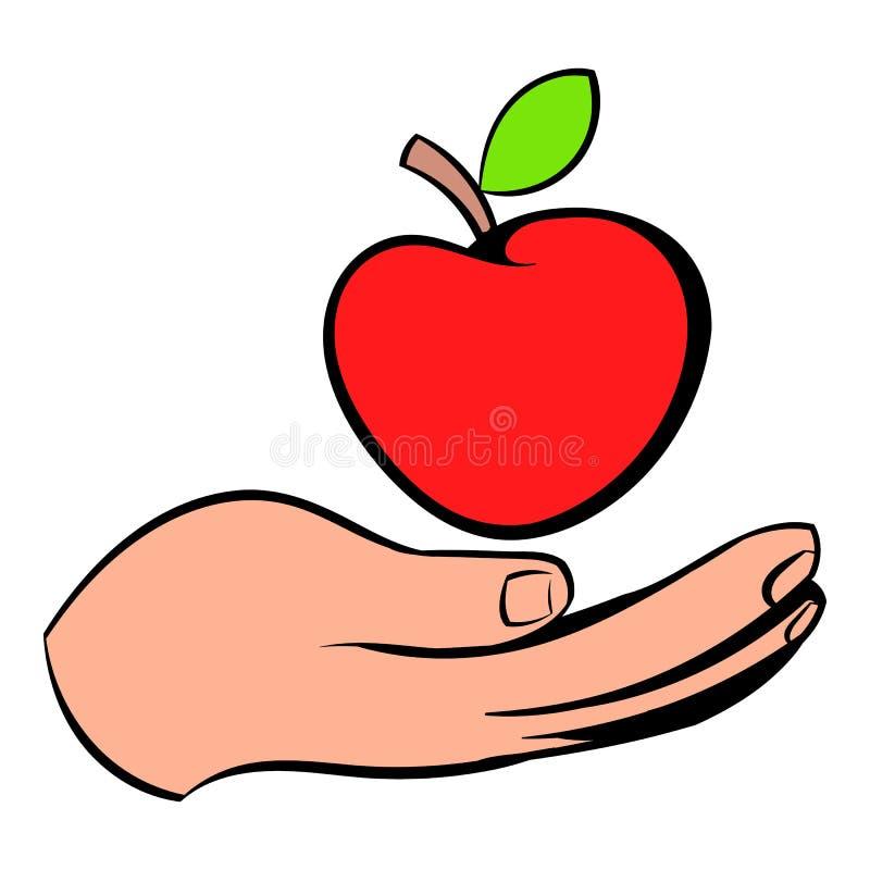 Uma mão que dá um ícone vermelho da maçã, desenhos animados do ícone ilustração royalty free