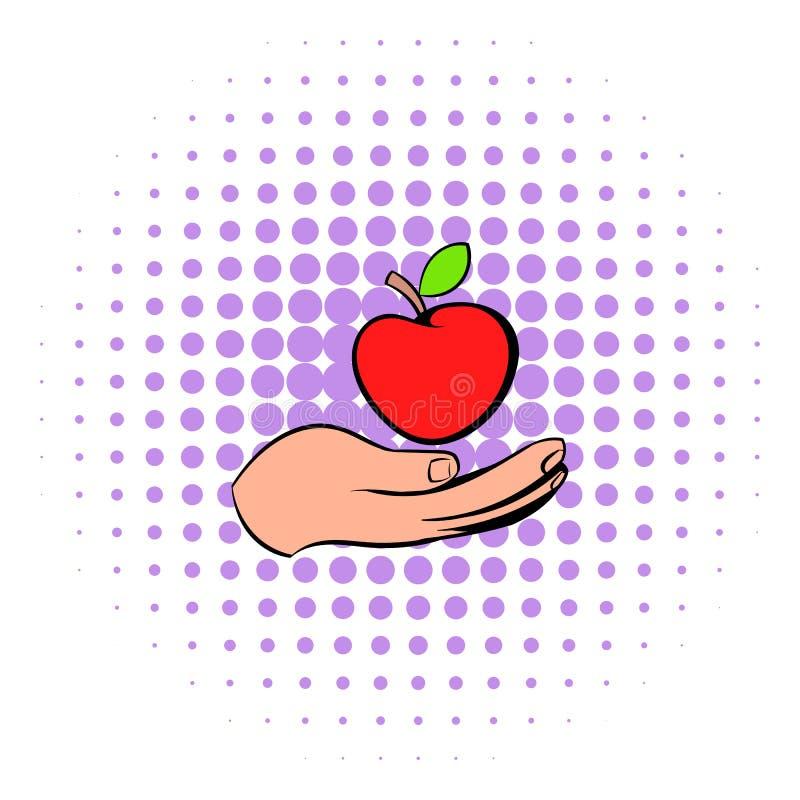 Uma mão que dá um ícone vermelho da maçã, estilo da banda desenhada ilustração royalty free