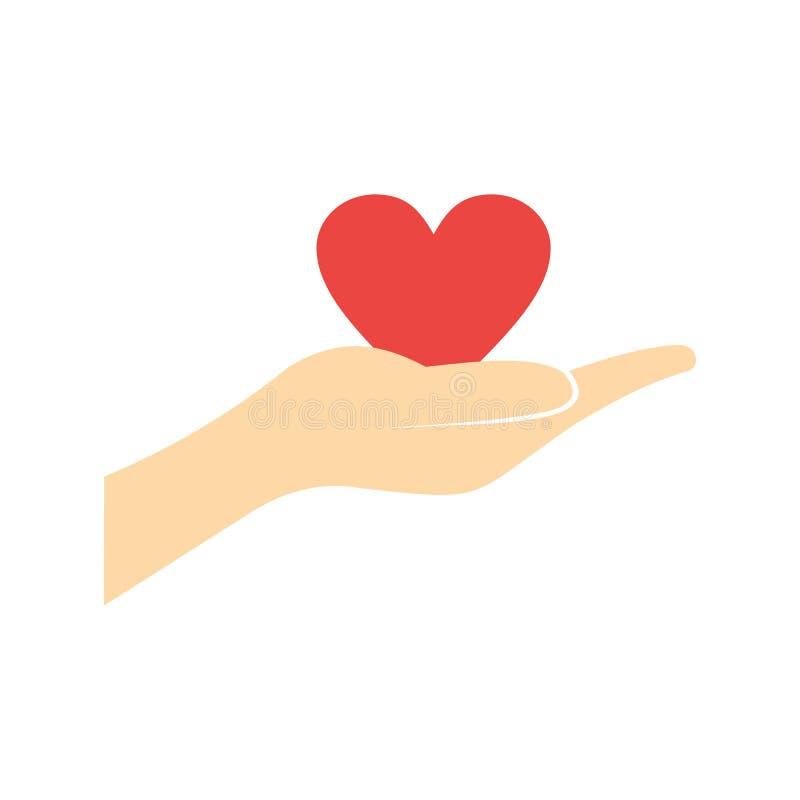 Uma mão que dá a um coração vermelho o ícone liso ilustração stock