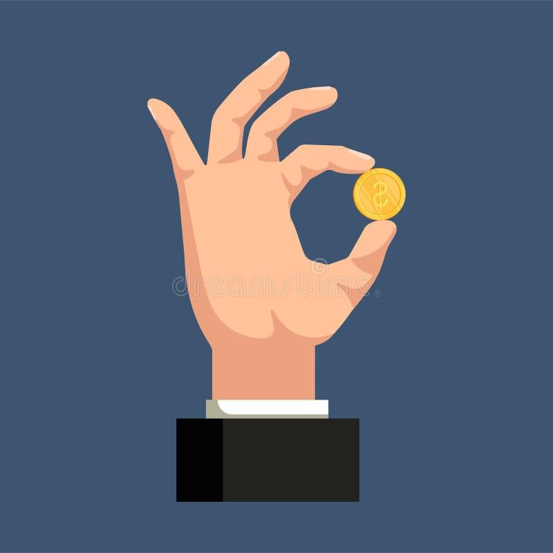 Uma mão que guarda uma moeda dourada em um fundo azul Conceito da finança Ilustração do vetor ilustração royalty free