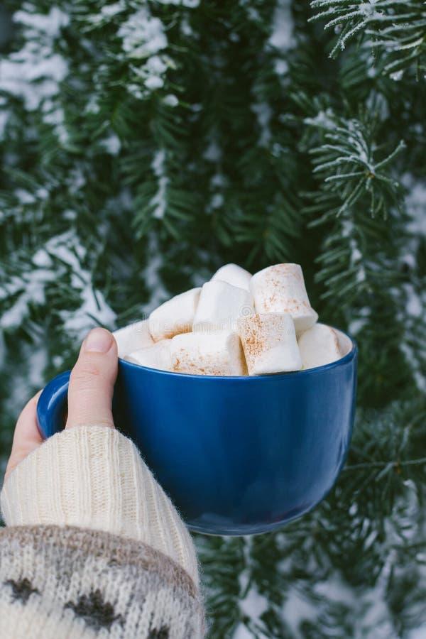 Uma mão que guarda o copo azul da caneca com café quente, cacau, chocolate com o inverno dos marshmallows exterior fotos de stock royalty free