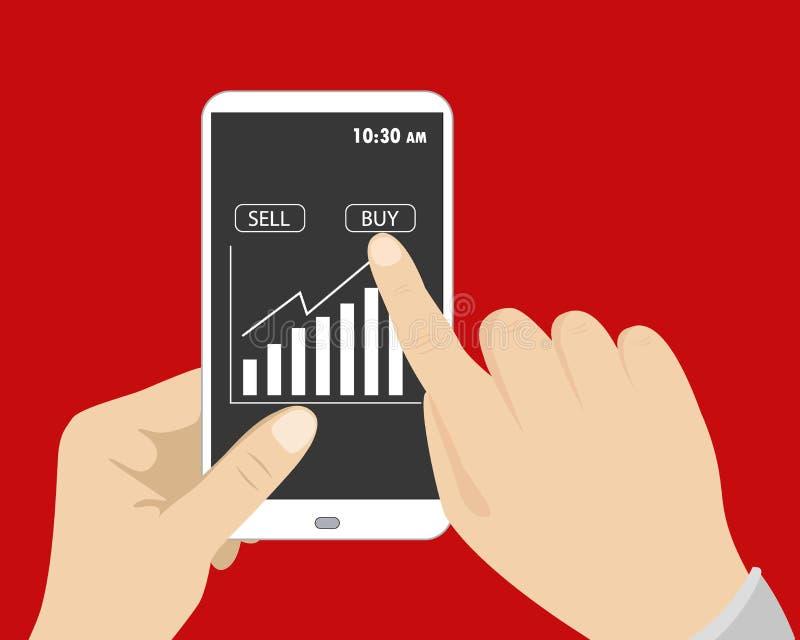 Uma mão que guardam o telefone esperto, e outras imprensas do botão para comprar sobre ilustração stock