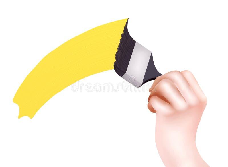 Uma mão que pinta uma parede no amarelo ilustração royalty free