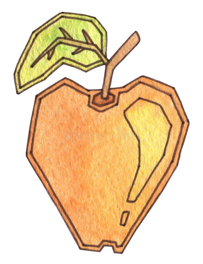 Uma maçã bonita amarela e alaranjada com folha verde Nutrição apropriada, vegetariano, vegetariano, alimento saudável Suculento f ilustração do vetor
