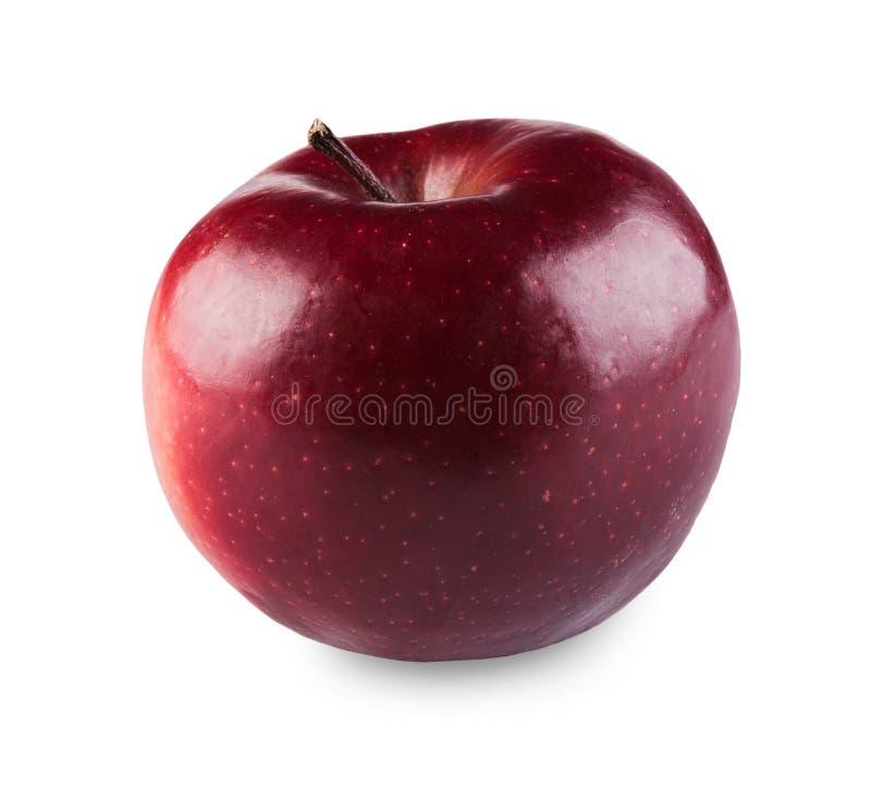Uma maçã vermelha fresca madura isolada no fundo branco imagem de stock