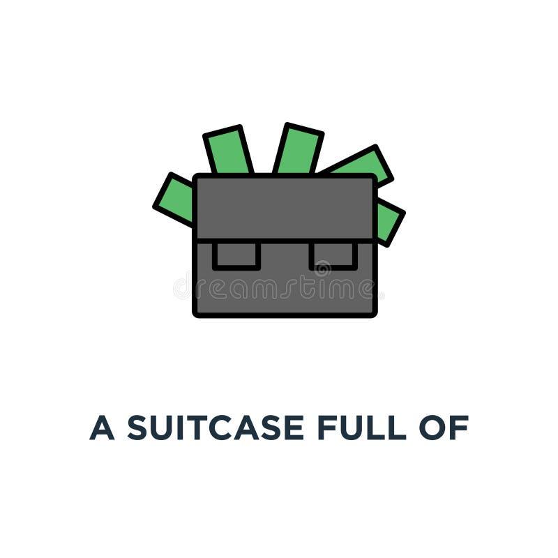uma mala de viagem completamente do dinheiro, ícone financeiro do sucesso projeto do símbolo do conceito da riqueza, fortuna, ope ilustração stock